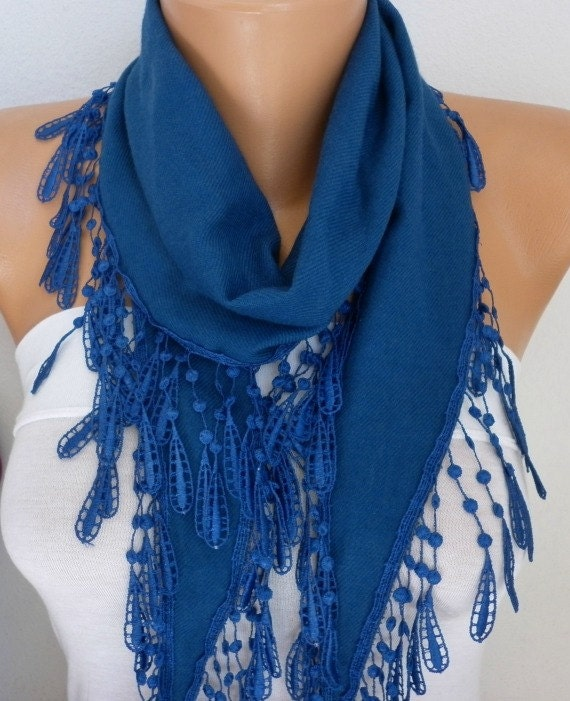 Navy Blue Pashmina Scarf,Necklace,Cowl,Wedding Scarf,Bridesmaid Gift,Gift Ideas For Her Women Fashion Accessories - fatwoman