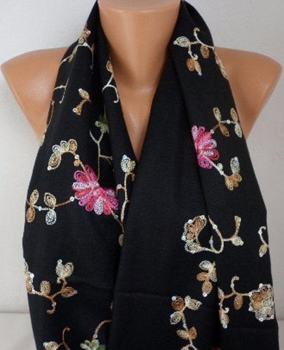 Black Embroidered Scarf,Bohemian,Wedding Shawl, Evening Wrap,Oversize,Bridal Shawl, Gift Ideas For Her, Women Fashion Accesssories