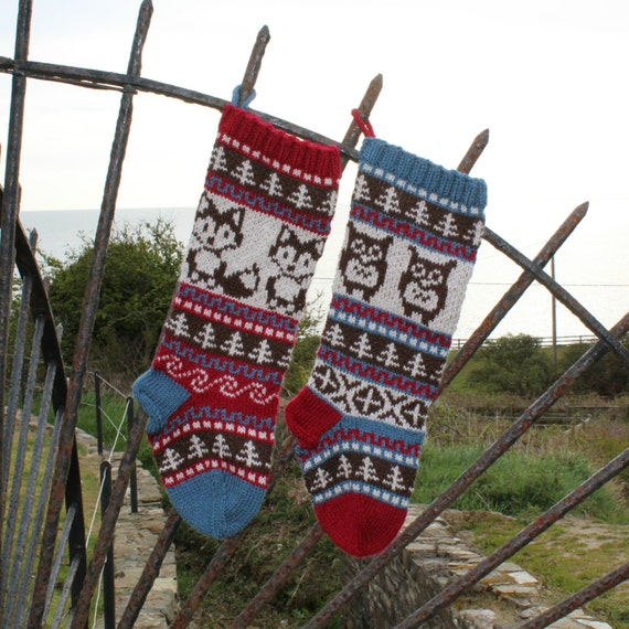 Pattern Owl and Fox Christmas Stockings and Stranded Knitting