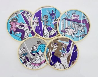 5 Vintage Melamine Coasters with Drawings in Blue, Purple, Pink and Grey
