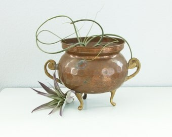 Antique Hammered Copper Planter with Brass Feet and Brass Handles No. 1 - Footed Copper Bowl Handles Finland - Jardiniere - Finnish Copper