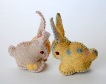 Twin Felted BABY BUNNIES-- Yellow Beige set of Toys -- Hand Made in Canada -- Pure Merino Wool Handmade Felt