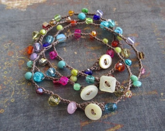 Colorful beaded crochet bracelet - slashKnots Stackers 'Rainbow Mix' crocheted jewelry vintage button waterproof yoga beach boho slashKnots