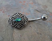 Black Opal Belly Button Ring Belly Button Rings