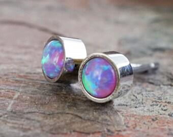 Purple Opal Earrings Opal Stud Earrings
