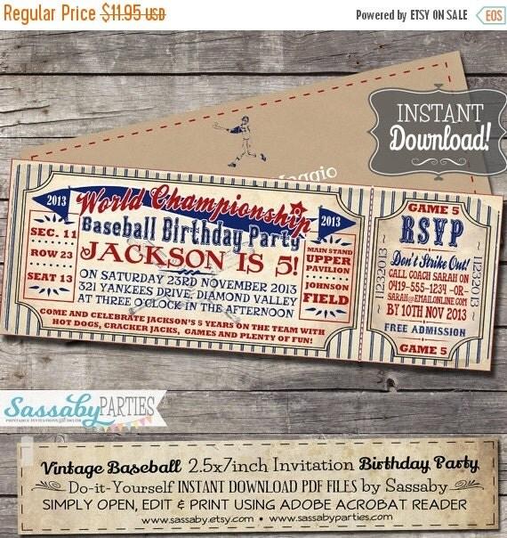 Vintage Baseball Birthday Invitations: 5th BDAY SALE Vintage Baseball Birthday By SassabyParties