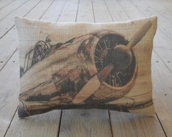 Airplane Propeller Burlap Pillow, Aviation, Airplanes, INSERT INCLUDED