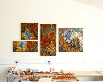 Wood Wall Art, set of 4, wood wall art, large art, painting on wood