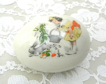 Vintage easter etsy collectible ridgewood porcelain easter egg 1976 girl bunny easter gift eggs negle Gallery