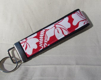 Keyfob wristlet / key chain /tropical flowers/fabric key fob