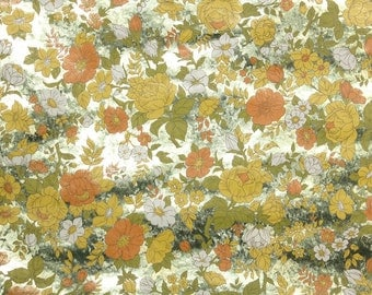 Retro Wallpaper by the Yard 70s Vintage Mylar Wallpaper - 1970s Orange Yellow and White Flowers on Metallic Gold Marble Mylar