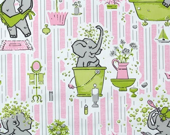 Retro Wallpaper by the Yard 70s Vintage Wallpaper - 1970s Pink and White Stripes Bathroom Wallpaper with Bathing Elephant and Green Bathtub
