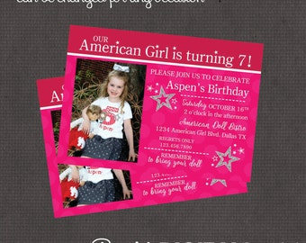American Girl Inspired Invitation 4x6 or 5x7 digital you print your own- Design 234
