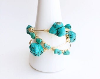 Turquoise Chip Bangle Set, Wire Bangles, Turquoise Bracelet, Turquoise Bangles, Gussied, Stone Bangles, Stocking Stuffer for Women
