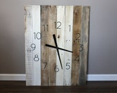 """Large RUSTIC MoDeRn Clock Rectangular. 26"""" by 36"""" Farmhouse Style,  Natural, Raw, Reclaimed Wood.  Wall Clock. 5 Year Anniversary Gift"""