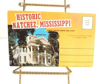 Vintage Accordion Post Card, Natchez, MS Mississippi, Plantation Home Photos, Collectible Ephemera, Mississippi Southern Mansions