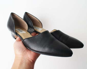 SIZE 8 M Vintage 90s Black Genuine Leather D'Orsay Shoes Low Heels Excellent Condition