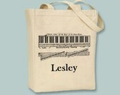 Keyboard Piano Music Personalized Canvas Tote - selection of sized and optional personalization