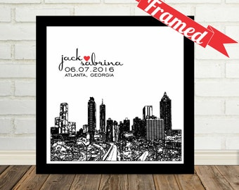 Atlanta Skyline Unique Engagement Gift Personalized Print FRAMED ART Any City Worldwide Engagement Art Gift Valentines Day Gift for Couple