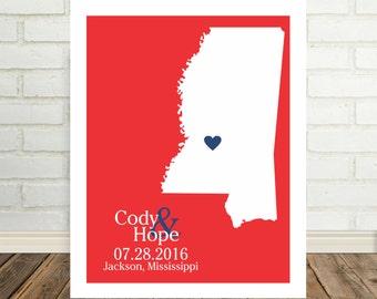 Mississippi Map Custom Wedding Gift Mississippi Print  Mississippi Poster Housewarming Gift Valentines Day Gift Mississippi Wedding Gift