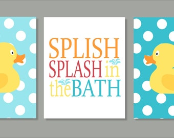 Rubber Ducky, Printable Wall Art, Splish Splash Bathroom Wall Art, Typography, Bathroom decor- File Download