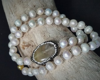 STATEMENT NECKLACE: Outstanding 9-10mm White Baroque Freshwater Pearl Asymmetrical String with Crystal Zircon Pave Fluorite Bead