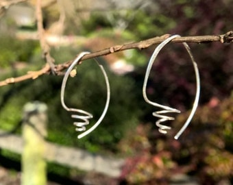 Hand Forged Silver Spiral Earrings