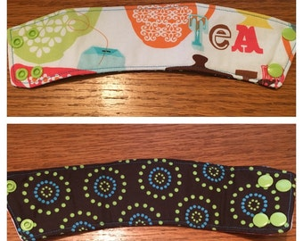 SALE *45% OFF* Reversible Coffee/Tea Cozy Sleeve, Thermally Insulated - Tea Time!