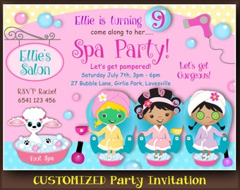 customized spa party invitation african american invitation pedicure party manicure and pamper party - Pamper Party Invitations