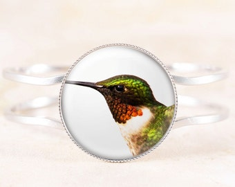 Hummingbird Bracelet - Male Hummingbird Jewelry, Ruby-throated Humming Bird Photo Jewelry, Silver Bird Jewelry, Silver Bird Bracelet Bangle