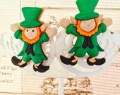 Leprechaun Earrings, St Patricks Day Stud Earrings, Irish Holiday Earrings, Lucky Irish Jewelry