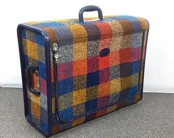 Vintage Skyway luggage vintage suitcase luggage plaid suitcase