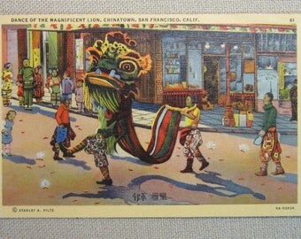 Vintage 1941 Postcard Dance of The Magnificent Lion Chinatown San Francisco