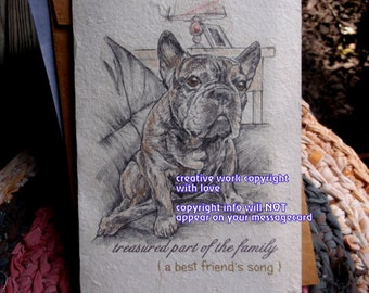 treasured part of the family / french bulldog brindle cards love my frenchie/ personalize/sentimental cards/unqiue empathy condolence cards