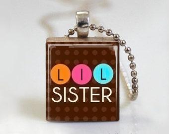 Little Sister Polka Dot - Scrabble Tile Pendant - Free Ball Chain Necklace or Key Ring