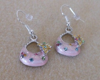 Handbag earrings with enameling and crystals/Pink purse charms with pink and blue crystals/purse earrings/pierced purse earrings