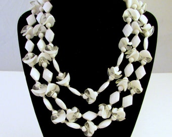 West Germany Triple Strand Beaded Necklace - White and Clear Beads - Adjustable Bib