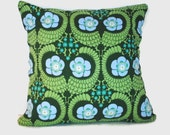 Moss Green Floral Pillow Covers Cushion Sham. 1 throw pillow cover for 20x20 insert. Boho jewel tone holiday decor fall pillow winter decor