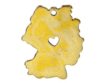 10 GERMANY MAP Charms, Gold Plated German Country Pendants, Frankfurt Heart Cutout, 28x23mm, chg0419