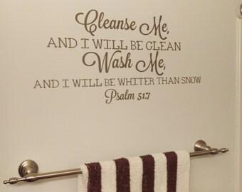 Bathroom Decor, Cleanse Me Wash Me, Vinyl Wall Decal, Bathroom Sticker, Home Decor