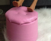 Genuine Leather Ottoman in Metallic Pink for sixth scale or playscale diorama or dollhouse
