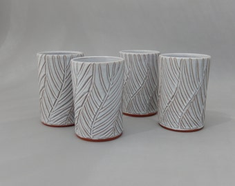 Ceramic Cups - Set of 4 Tumblers - 16 oz. Drinking Glasses