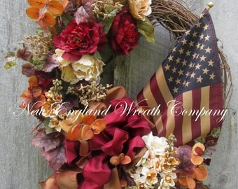 Fall Wreath, Autumn Wreath, Patriotic Wreath, Williamsburg Wreath, Elegant Patriotic Wreath, Fall Floral Wreath, Tea Stained Flag