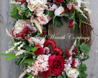 Valentine Wreath, Heart Wreath, Victorian Wreath, Spring Floral, Elegant Designer Wreath, Country French Wreath, Romantic Wedding Decor