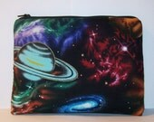 """Space Pouch, XL Pipe Case, Pipe Pouch, Glass Pipe Bag, Padded Bag, Stoner Gift, 420 Bag, Zipper Bag, Pipe Cozy, Pipe Bag, 7.5"""" x 6"""" X LARGE"""