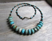 Imperial Jasper gemstone necklace turquoise colored brown earthy minimalist single strand 19 inch beaded necklace