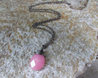 Pink Jade pendant faceted teardrop bubble gum pink stone extra long black chain black wire wrapped jewelry