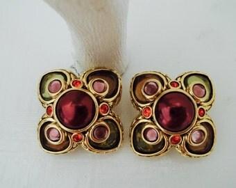 Joan Rivers Earrings Clip On Burgundy Green Red Lavender Glass