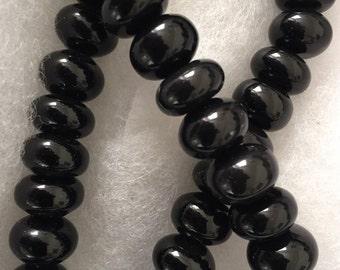 """Black Onyx Rondelles 1/2"""" 24 Beads"""
