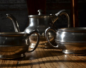 Reed and Barton Silver Soldered Tea, Creamer and Sugar Bowl 355 from 1930's